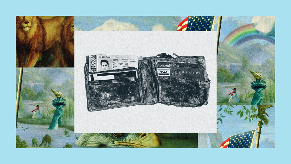 The late Bobby McIlvaine's wallet lies open, warped with age and covered with soot from the 9/11 attacks. The image is set into a frame featuring The Experiment's show art.